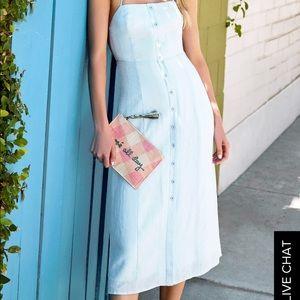 Blue stripped midi dress
